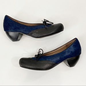 ALL BLACK Calf Hair Heel Booties Blue and Black